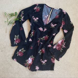 Urban Outfitters Black Floral Lace Up Romper